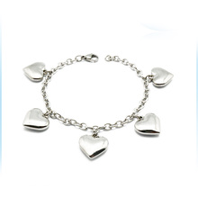 Bulk Fashion Hong Kong Costume Jewelry Big Heart Charm Bracelet Silver Jewelry with Gemstones