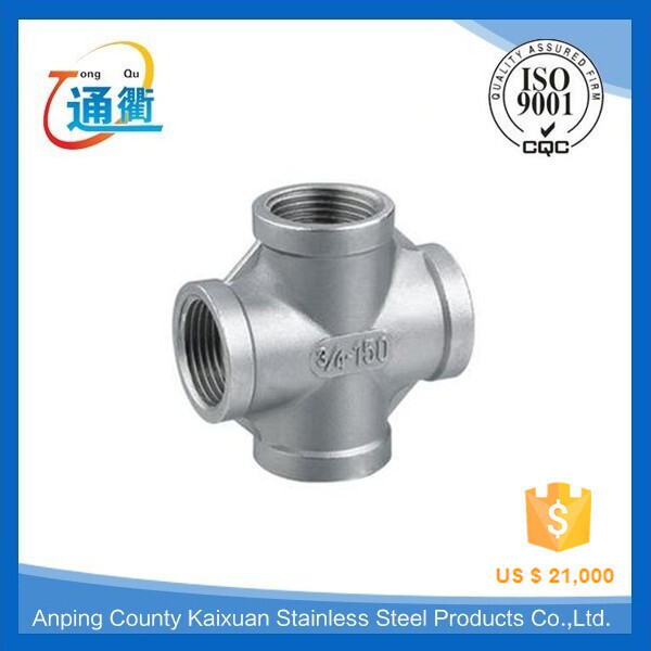 Stainless steel female threaded pipe fitting /forged elbows&tees cross