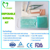 disposable obstetric surgical kit surgical dressing bag with face mask,bouffant cap,injector,tweezer