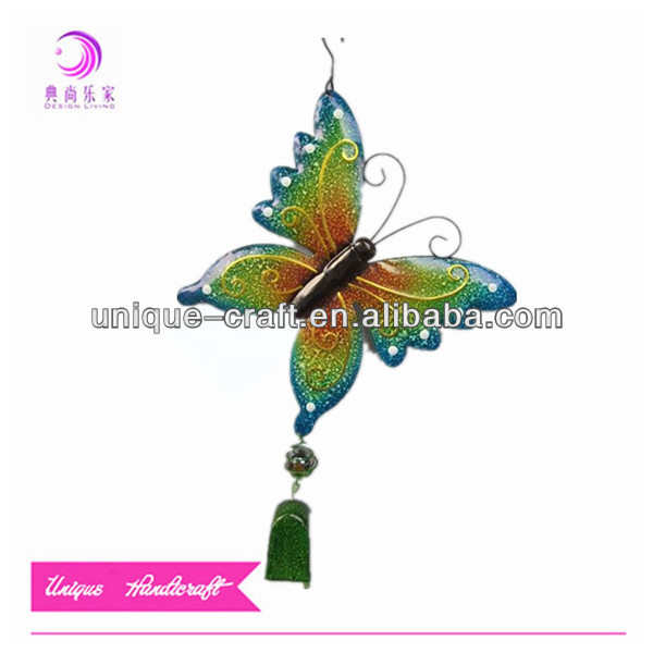 Fashion design metal garden butterfly decoration hanging wind bell chimes wholesale