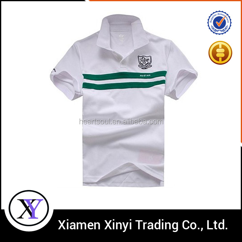 Custom Embroidery white pique polo t shirt
