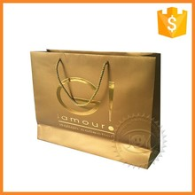 Printed foil logo ribbon collapsible paper shopping bag with cotton handle