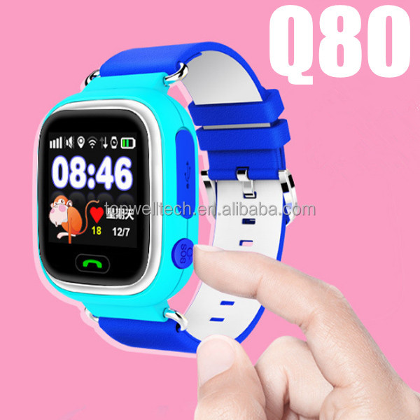 LCD WIFI Positioning children Anti lost monitor android smart watch Q80 sos call gps running watch tracker A3 with Sim card
