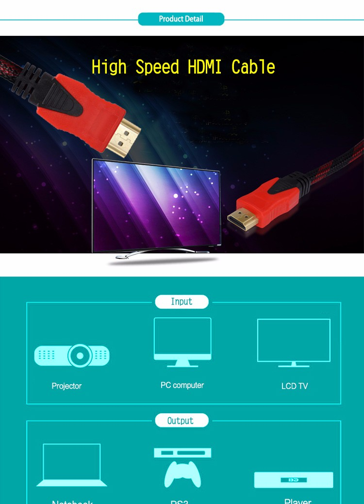 24K HDMI to HDMI Cable /HDMI computer cable