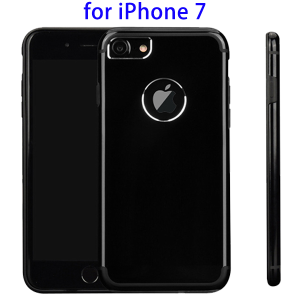 Mobile Accessory Bright Black Frosted Metal TPU Protective Cover Case for iPhone 7