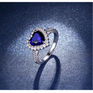 Fashion Classic Royal Blue Ocean Heart Ring with Synthesis Sapphire/ Ruby/CZ Romantic Gift for Women Charm Jewelry