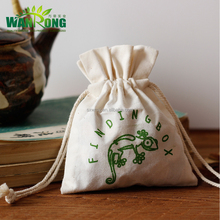 2017 new design recyclable eco friendly customized drawstring muslin cotton pouch