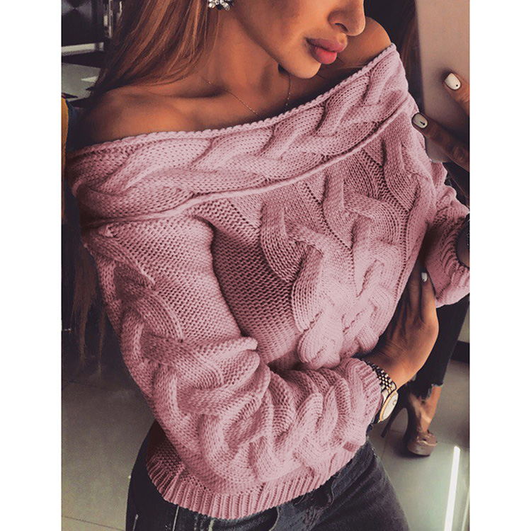 Sexy Off The Shoulder Tops Autumn Fashion Long Sleeve Knitted Sweater Women