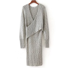 Blue/grey sweater wholesale women pullover high fashion long sleeve dress