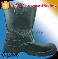 SRSAFETY high quality emboss cow split leather safety boots made in china
