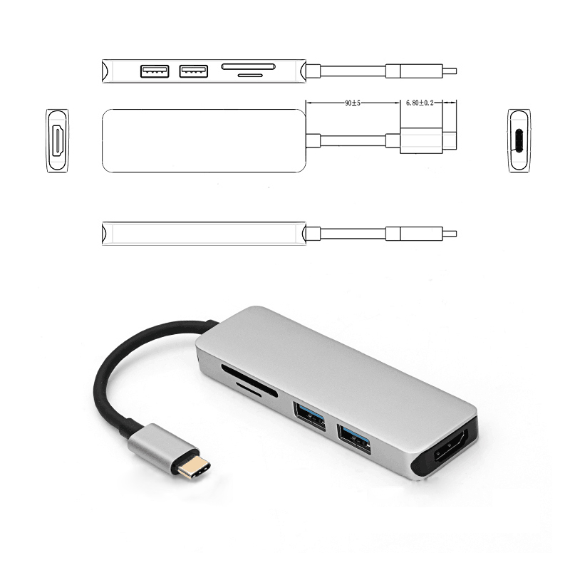 Aluminium alloy usb hub with USB 3.0 TF/SD Card reader usb c hub for Mini Notebook
