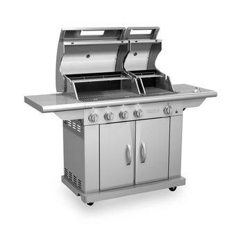 Split Lid SS Gas Barbecue Grill with Side Burner