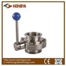 SS304 Stainless Steel Sanitary Butterfly Valve Triclamp Metal Handle
