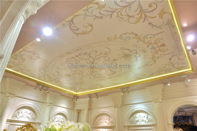 Classical Italy Style Painted Ceiling Frame, Elegant Floral Artistic Ceiling Panel, Luxury Palace Decorative Ceiling Large Size