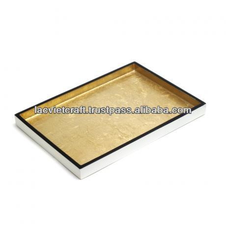 High quality best selling lacquered Metallic gold with black trimming designed serving Rectangle Tray