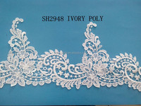 New product white embroidery pioyseter lace trim for wedding dress