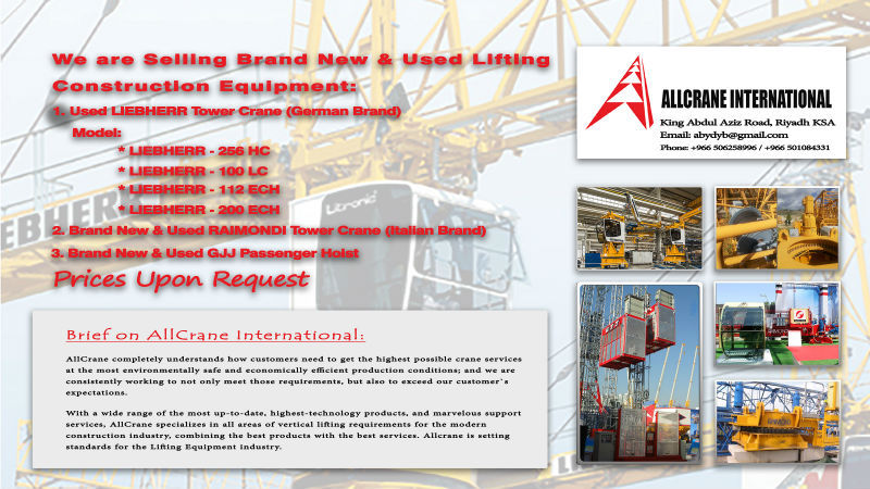 Brand New & Used Lifting Construction Equipment