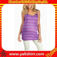 wholesale comfort slim fit 100% rayon longline striped printed Maternity tank top