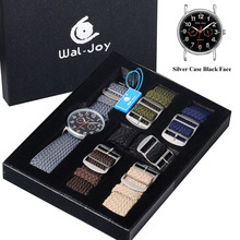 Wal-Joy Brand Knitted Strap Luxury Box Set Outdoor Quartz Men Watches 2017