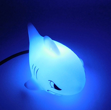 Christmas gift fluorescent figure new flashing colorful light decor electric shark shape lamp light toys glow in the dark