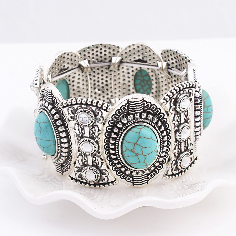 Fashion turquoise stone bracelet Wholesale QD--<strong>001</strong>