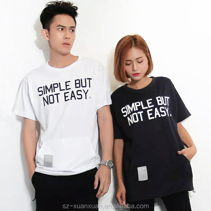Wholesale plain couple short sleeve letter printing t-shirt with pocket 2016