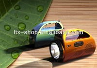 LED Flashlight Mini Speaker with music playback ,Line,IN,FM,lighting and Emergency lights