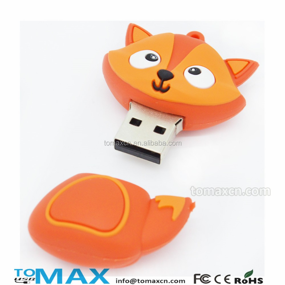 Free shipping fox shape cartoon character usb flash pendrive accept paypal