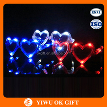 Wholesale Party Fashion Glow Fancy LED Hearts Shape Fluorescent Glasses