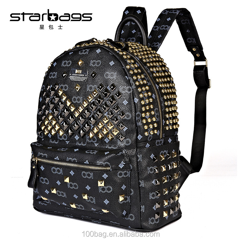 custom rivet leather backpack for men hot sale european style bagpack manufacturer