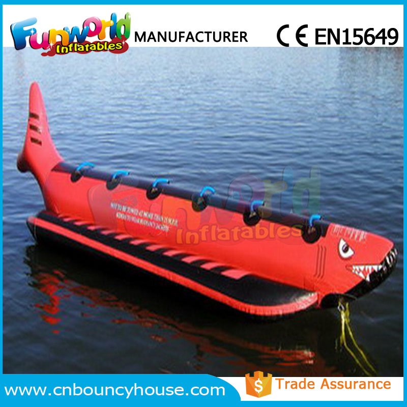 Inflatable red shark fly water boat inflatable banana boat