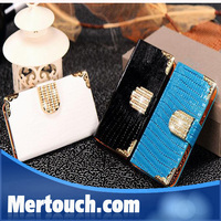 hot selling lady wallet Shiny case for iphone 6 iphone 6 plus lizard grain leather flip stand leather case for iphone 6 plus
