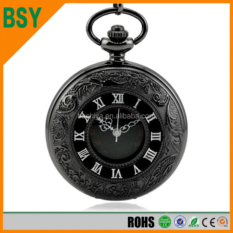 BSY Hot Sale Luxury Hollow Pocket Watch with Arabic Number Quartz watch necklace
