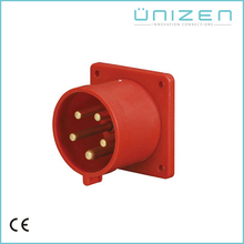 Power Supply EU Plug IP44 Panel Mounted Plug 5pins 400V 32A with high temperature contact carrier