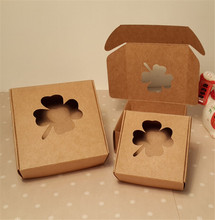 7.5*7.5*3cm brown tree Window Cardboard Box Handmade Soap s Gift Wedding Candy Packing Paper Boxes