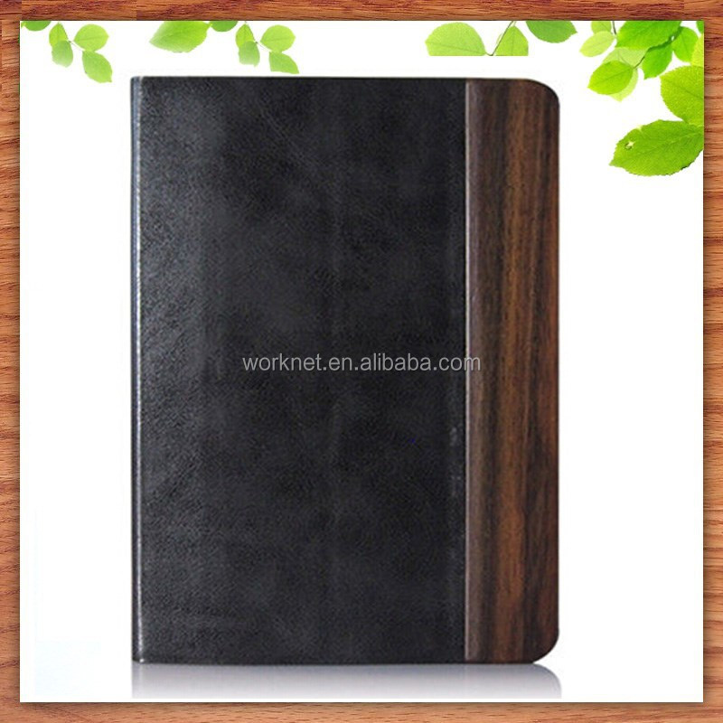 New design wood PU Leather tablet case for iPad mini, stand case cover sleep/wake up function