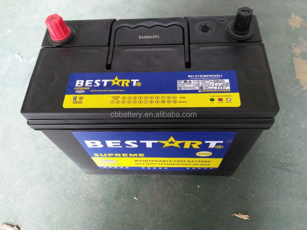 USA technology NS60L-MF electric car battery 45ah 12V auto battery
