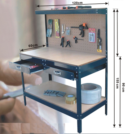 Heavy Duty Drawers Metal Workshop Tools Cabinet Workbench With Wood Top