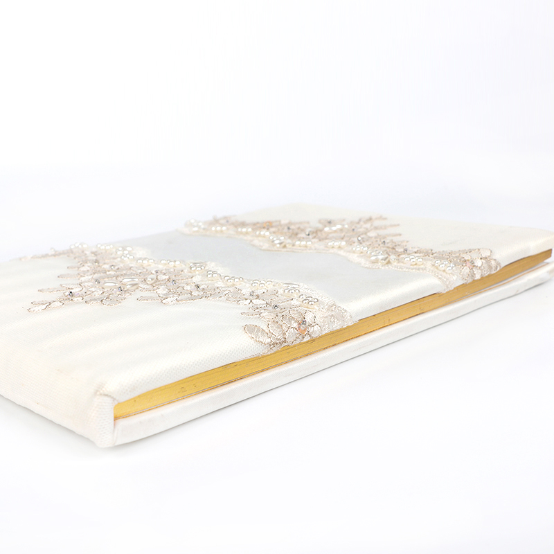 cheap price good quality embroid customized wedding glitter guest book