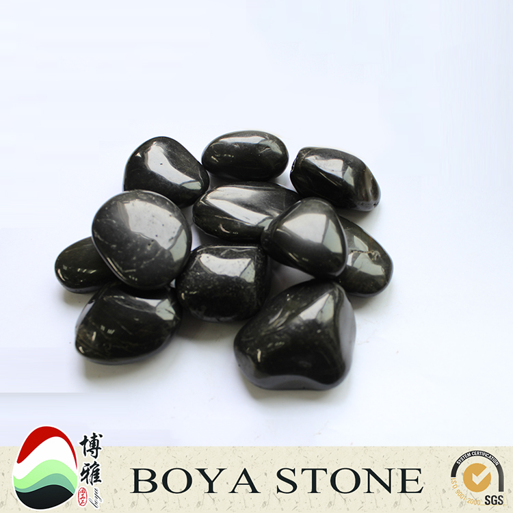 Custom black polished pebble stone Natural glow in the dark pebble stone Natural polished pebble stones