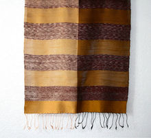 Laos Silk Striped Scarf - Brown and Gold w/ Tassels