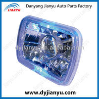7 inch square Diamond crystal with the angel eyes semi sealed-beam head lamp ,with led ring head lightJY127A