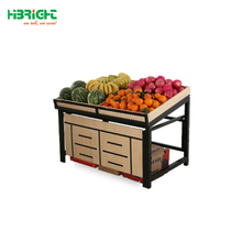 supermarket metal and wooden vegetable shelf,supermarket fruit and vegetable display shelf