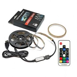 1M RGB 5050 DC 5V USB Powered LED Strip with 17keys RF Remote, 20 Colors, Ambient Lighting Kit for HDTV and Desktop Monitor Back