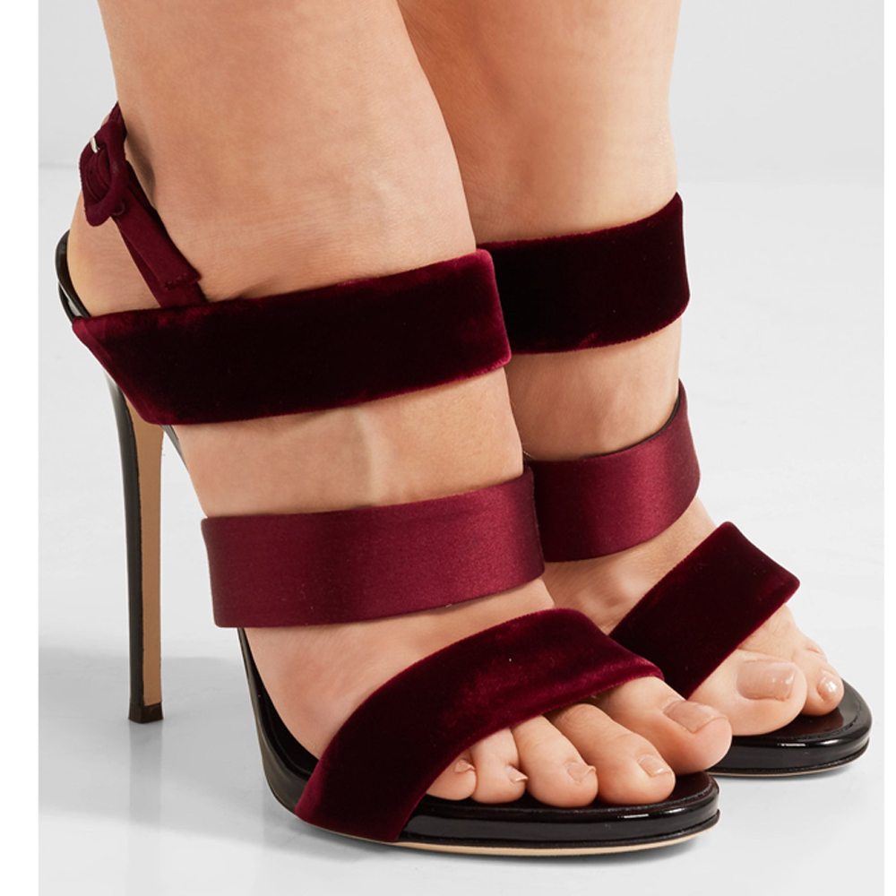 LATEST STYLE RED VELVET FASHION 12CM HIGH HEEL WOMEN <strong>SANDALS</strong>