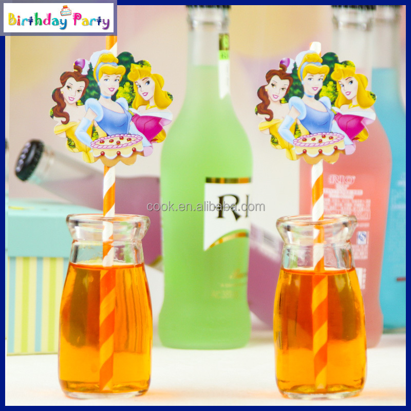 Three Princess Theme party Paper Straws,hot sell decorative themed birthday party paper plates