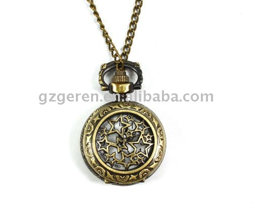 Antiqued Gold Metal Cutout Face Watch Long Necklace D00718o