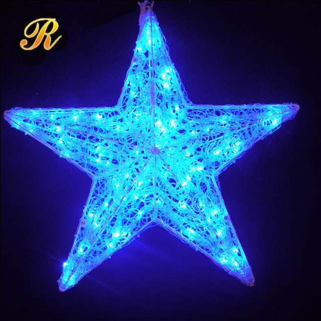 Outdoor christmas hanging star light for shopping mall decoration