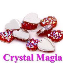 2017 fancy clear resin stone AB color heart shape sewing rhinestone