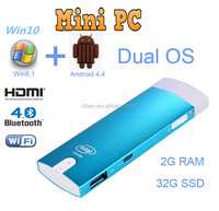 China mini chip pc with Intel 3735F Quad Core 1.8GHz windows 8.1 for android nvidia dual core mini pc